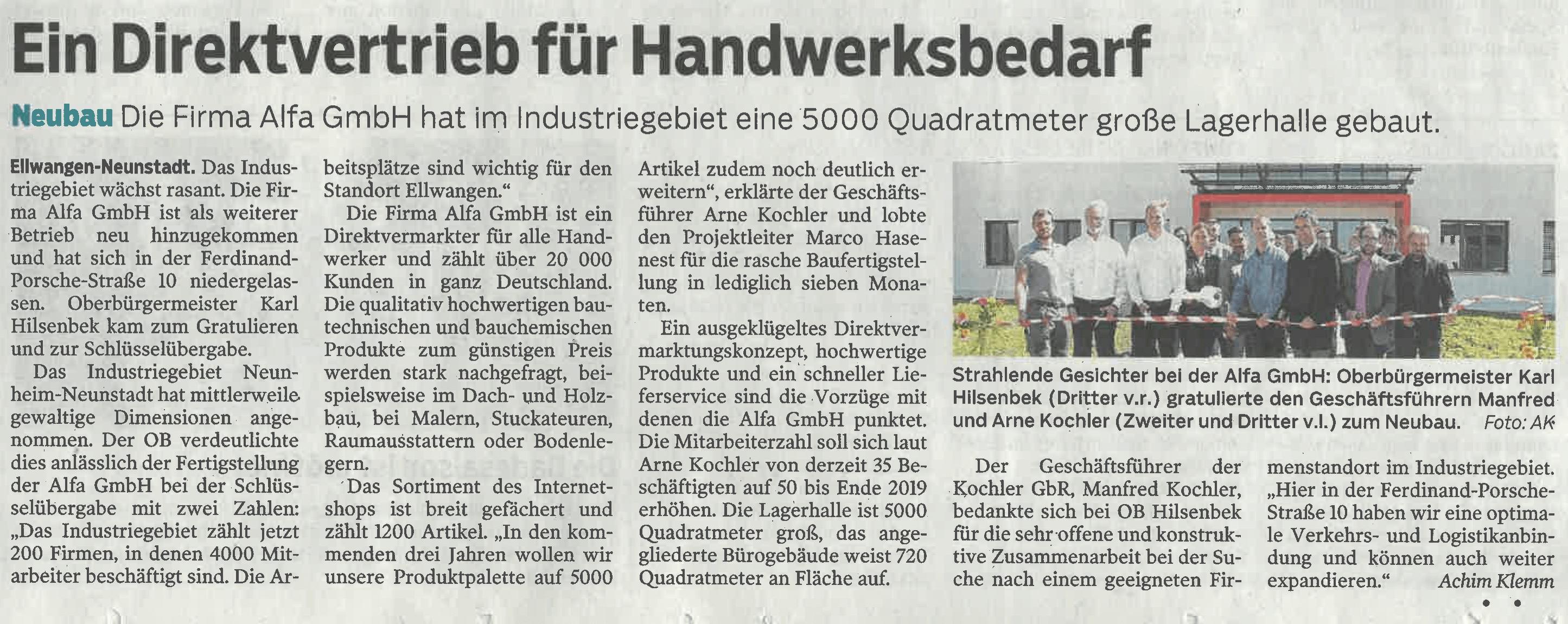 Zeitungsartikel über die Alfa GmbH in der Schwäbischen Post