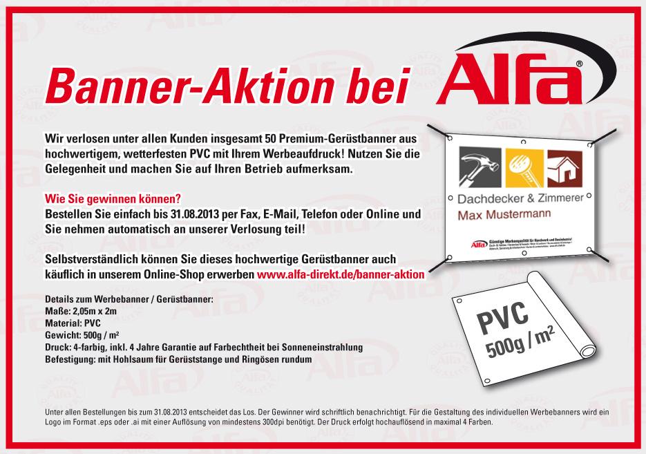Banner-Aktion bei der Alfa GmbH