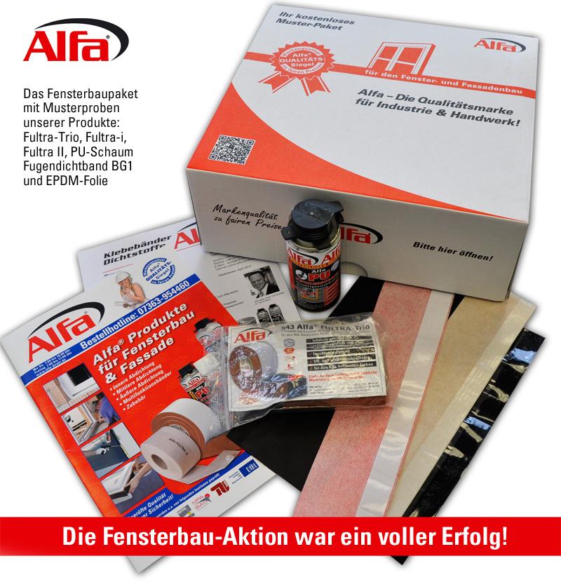 Musterpaket mit Produkten für Fensterbauer