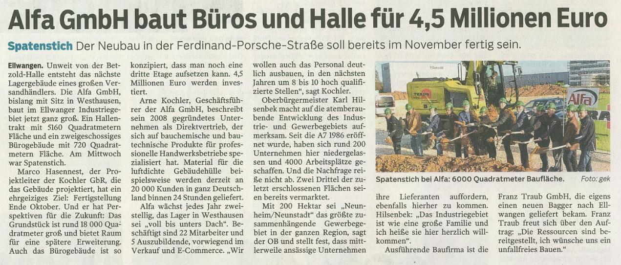 Zeitungsartikel über den Neubau in der Schwäbischen Post