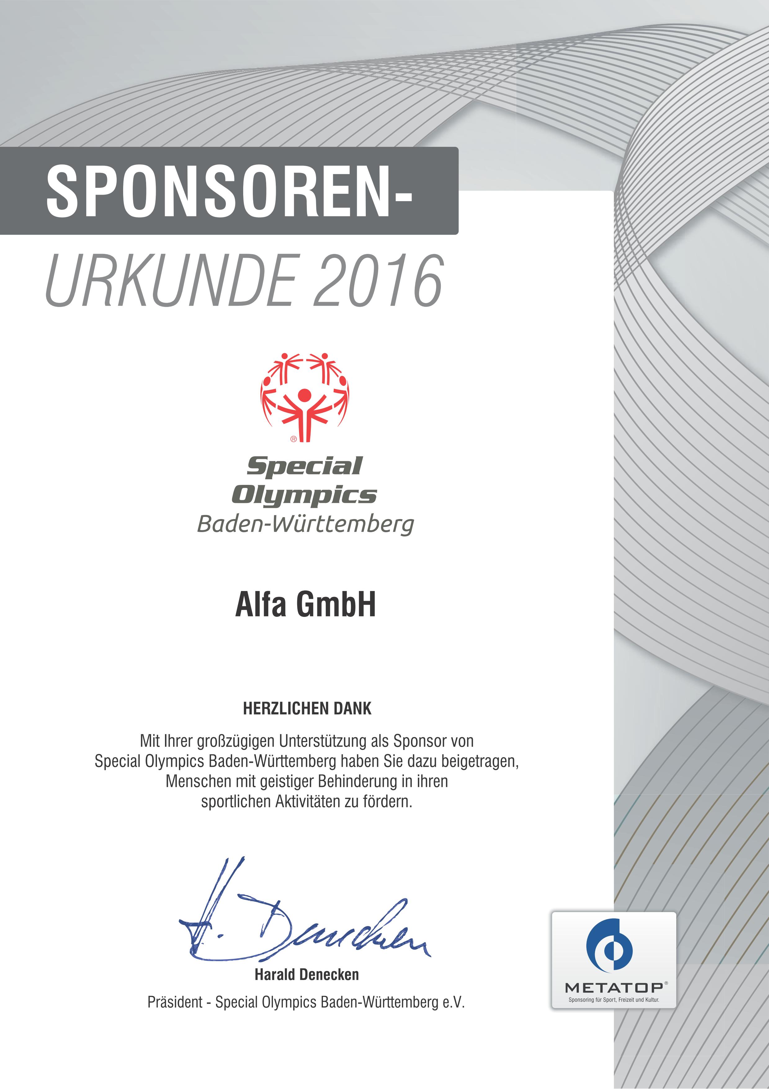 Sponsor bei den Special Olympics in Baden-Württemberg