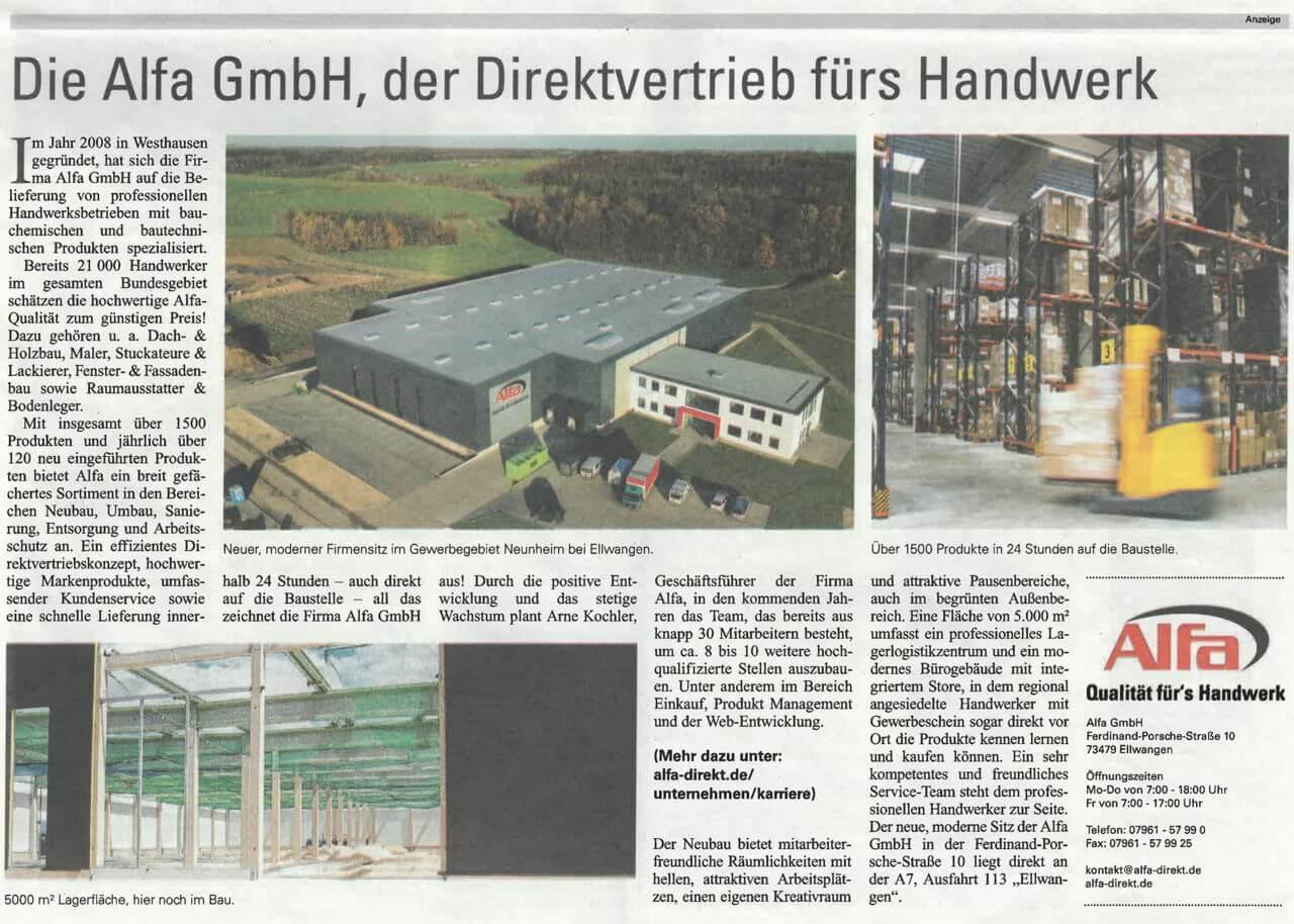 Zeitungsartikel über die Alfa GmbH in der Wirtschaft Regional