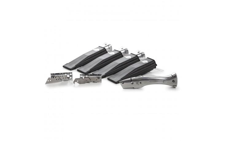 Praktisches Set zum Testen der hochwertigen Alfa Delphin Messer und den dazugehörigen Trapez- und Hakenklingen.