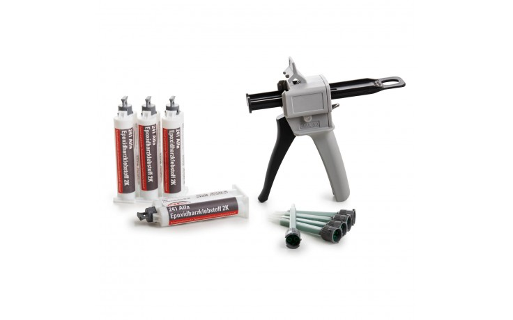 Alfa Epoxidklebstoff Set bestehend aus Epoxidharzklebstoff 2K, der passenden Doppelkartuschenpistole und dem dazugehörigen Mischrohr.