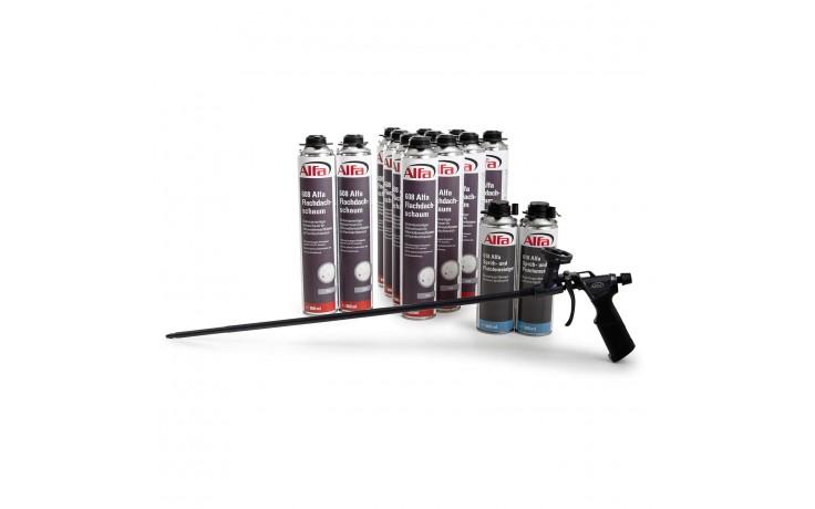 Flachdachschaum Set - Pistole, Reiniger & Flachdachschaum