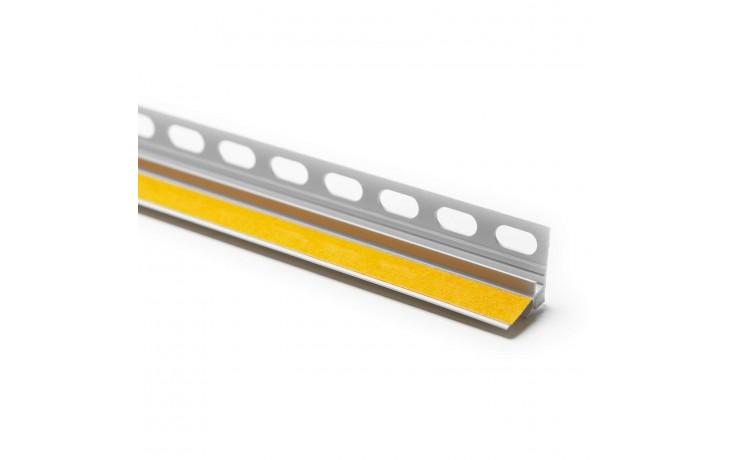Robuste, selbstklebende Hart-PVC Anputzleiste mit Einputzschenkel und Schutzlippe
