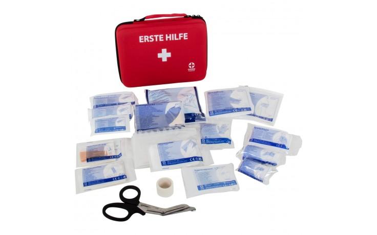 Praktische Erste Hilfe Softbox mit Tragegriff und Qualitätsverbandstoffen nach DIN 13 157.