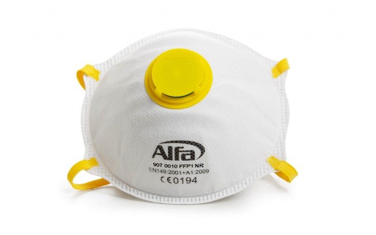 Feinstaubmaske FFP1 mit Ventil und angenehmen Baumwoll-Kopfband