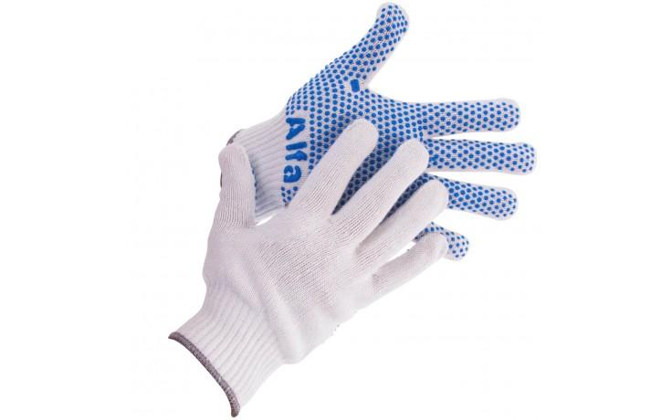 Grobstrickhandschuhe mit blauen Griff-Noppen an den Handflächen