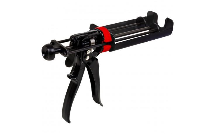 Korrosionsgeschützte 2K Kartuschenpistole zur Verarbeitung von Doppelkartuschen bis 220 ml.