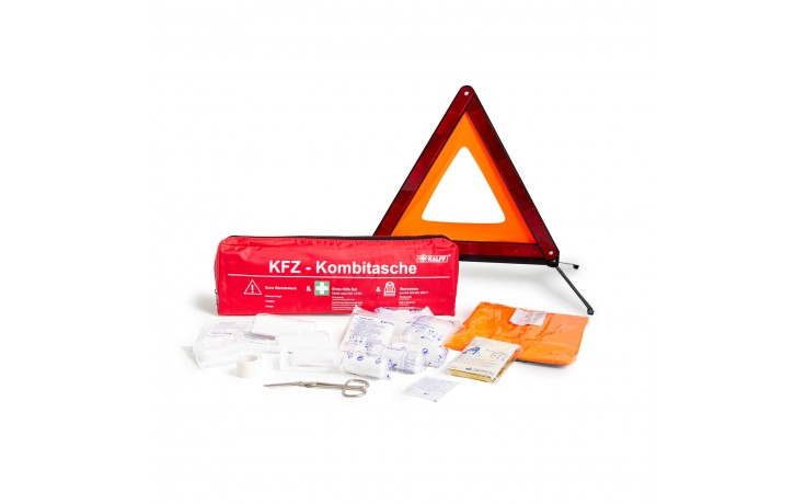 KFZ-Kombitasche mit Verbandmaterial, Warnweste & Warendreieck