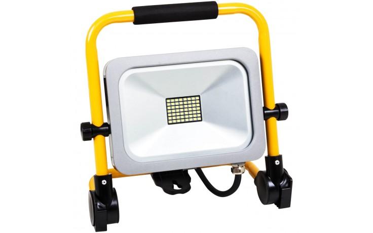 Leistungsstarker und spritzwassergeschützter LED-Baustrahler in kompaktem Format für den Innen- und Außenbereich.