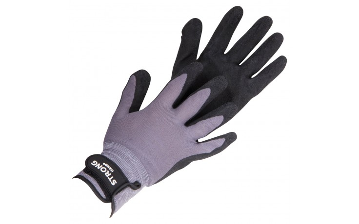 Feinstrick-Handschuh mit Latexschaum-Beschichtung für einen hervorragenden Nass- und Trockengriff und praktischem Klettverschluss am Handgelenk für einen sicheren Sitz.