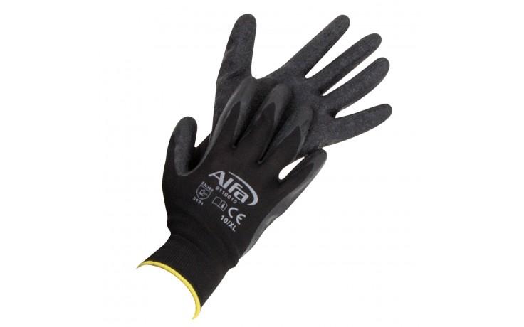 Latexhandschuhe aus grobem Strick mit sehr guter Griffigkeit bei nassen Untergründen und glatten Gegenständen.