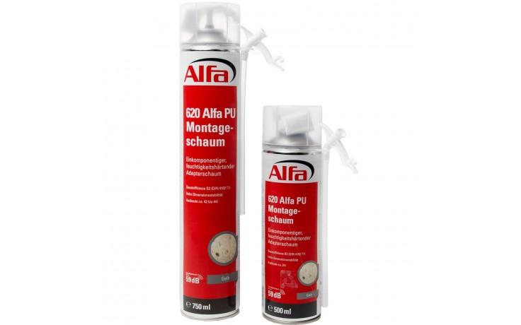 Alfa PU-Montageschaum 1K Bauschaum, Fensterschaum zum Montieren, Füllen und Isolieren von Fenstern und Türen Schallisolierung Wärmeisolierung