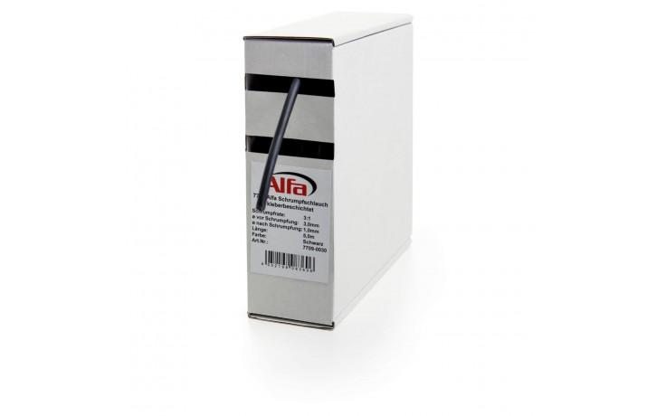 Alfa Schrumpfschlauch, kleberbeschichtet 19,0-6,0mm, schwarz, 2m