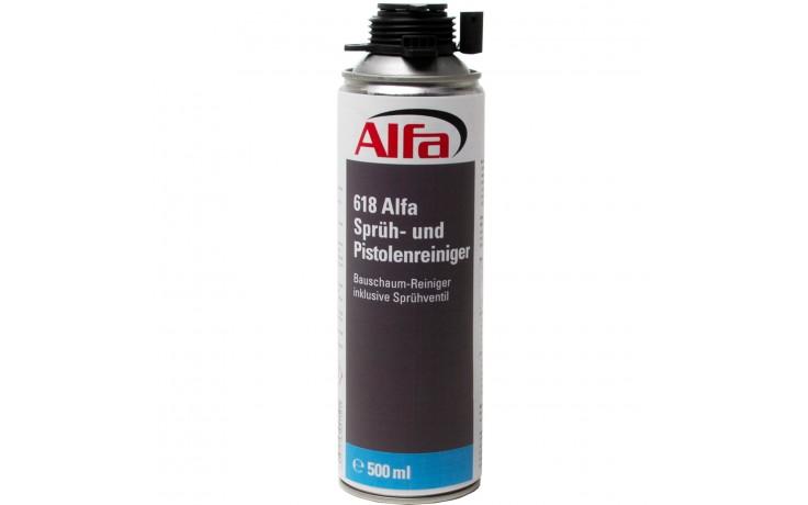 Alfa Sprüh- & Pistolenreiniger entfernt frischen PU-Schaum, Bauschaum, Farbe, Öl, Fett und Teer