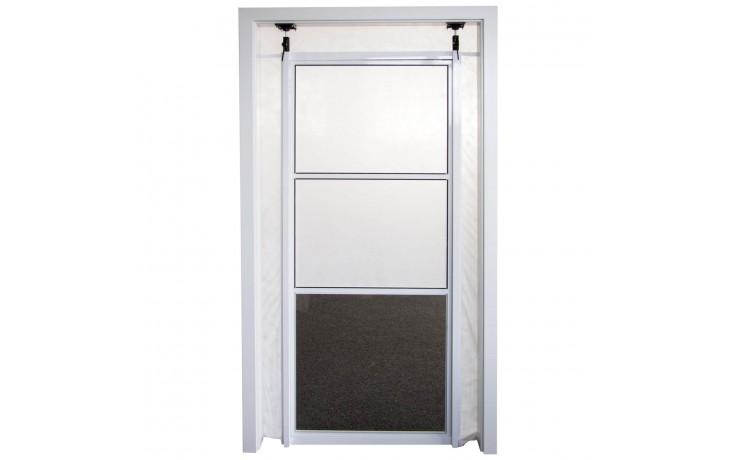 Staubschutztüre mit Schnellspannsystem, Plexiglas Scheibe und Schutzvlies