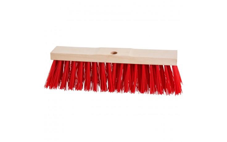 Flachholzbesen mit roten Elaston Borsten für groben und feuchten Schmutz