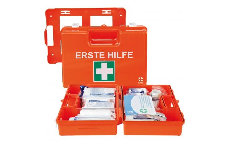 Schlag- und Bruchfester Verbandkoffer aus ABS-Kunststoff mit Verbandsmaterial nach DIN 13 157. Mit praktischer Wandhalterung.