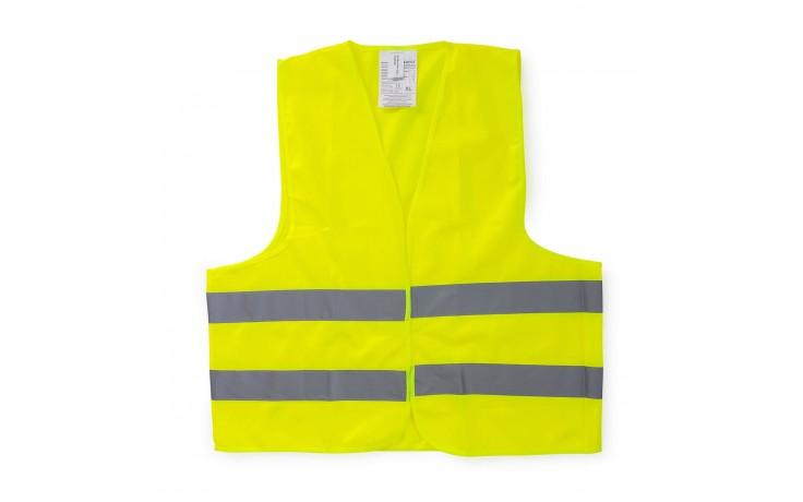 Zertifizierte Warnschutzweste mit 2 reflektierenden Streifen für eine bessere Sichtbarkeit im Straßenverkehr oder auf der Baustelle.