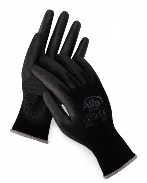 909 Alfa Malerhandschuhe schwarz (PU-beschichtet)