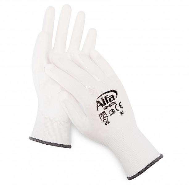 909 Alfa Malerhandschuhe weiß (PU-beschichtet)