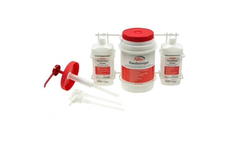 Handreiniger-Set - Reinger, Cremes & passender Halterung