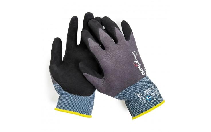 Feinstrick-Handschuh ist mit einer atmungsaktiven, patentierten Nitrilbeschichtung ausgerüstet, gewährleistet schweißfreies Arbeiten.