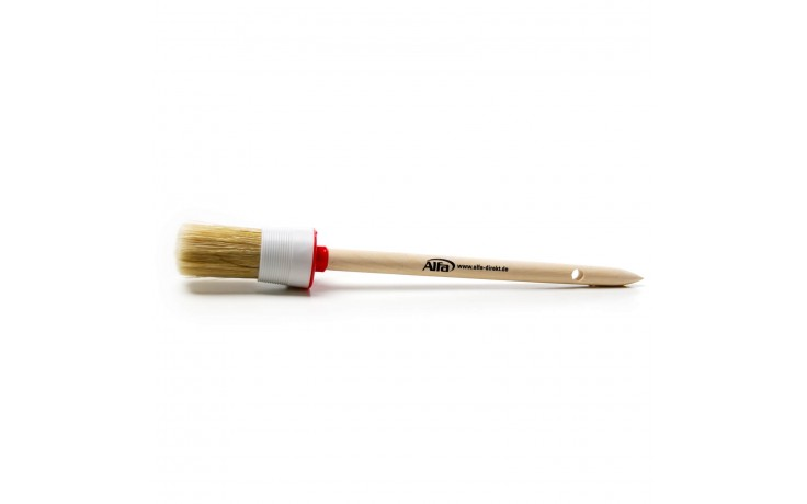 Der Alfa Universal-Ringpinsel besteht aus reinen hellen Chinaborsten und einen geschliffenen Holzstiel und ist vielfältig in der Anwendung.