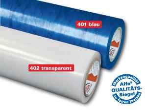 Schutzfolien in blau und transparent