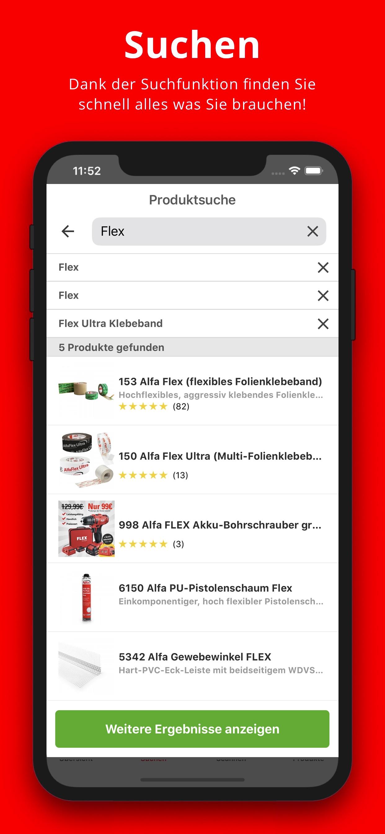 Screenshot Produktsuche